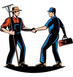 Farmer and tradesman mechanic handshake vector