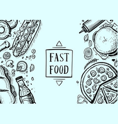 fast food hand drawn retro background vector image