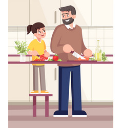 Father and daughter cutting vegetables together vector