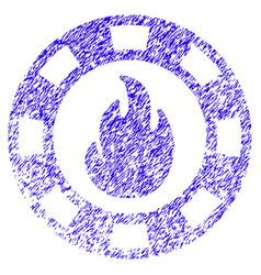 Fire casino chip icon grunge watermark vector