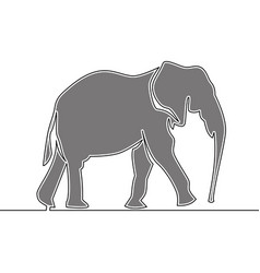 flat continuous drawing line art elephant concept vector image