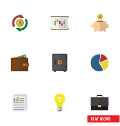 flat icon gain set of diagram graph bubl and vector image