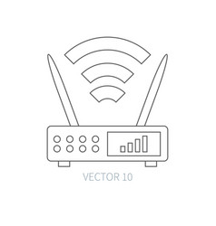 Flat line computer part icon wireless vector