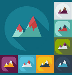 Flat modern design with shadow icons mountains vector