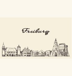 freiburg im breisgau skyline germany sketch vector image