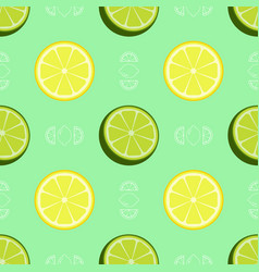 Fresh lemon and lime pattern vector