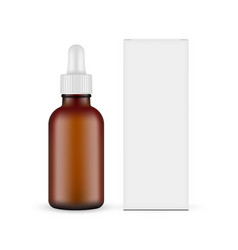 Frosted dark glass dropper bottle with box front vector