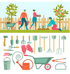 gardeners with tools for working in the garden vector image