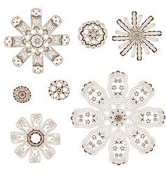 Geometric circular ornament set vector image