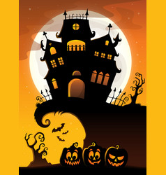 halloween house silhouette theme 3 vector image