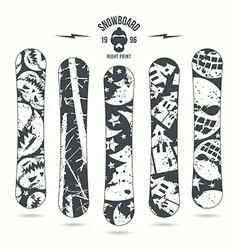 Halloween print for snowboard vector image