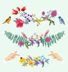 hands and flowers cute decorative set vector image