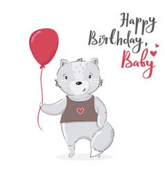 Happy birthday baby cartoon card design cute vector