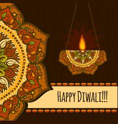 happy diwali festival concept background hand vector image