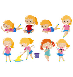 happy girl doing different activities vector image vector image