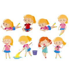 happy girl doing different activities vector image