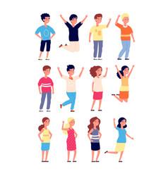 happy kids little joyful children smiling jump vector image