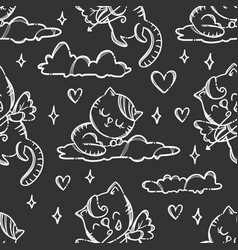happy valentines day cat seamless pattern vector image