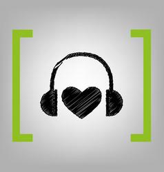 Headphones with heart black scribble icon vector
