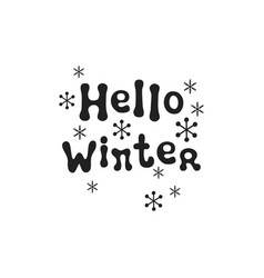 hello winter christmas calligraphy phrase vector image