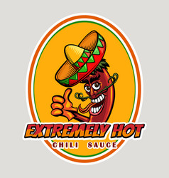 hot chili sauce emblem vector image