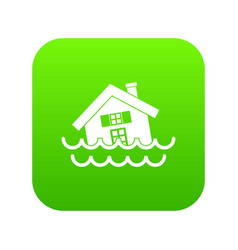 House sinking in a water icon digital green vector