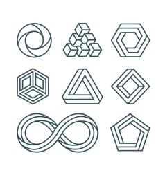 Impossible shapes thin line minimal icons vector