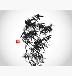 Ink wash painting bamboo in wind vector