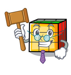 Judge rubik cube mascot cartoon vector