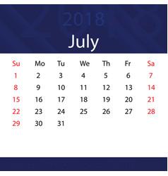 July 2018 calendar popular blue premium vector