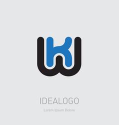 K and w initial logo kw initial monogram logotype vector