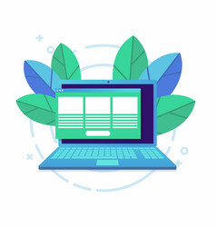 laptop with open browser and floating windows vector image