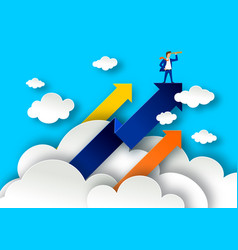 Leadership concept with arrows on white clouds vector