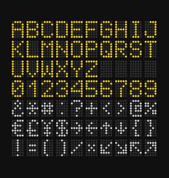 led digital font on black background for airport vector image