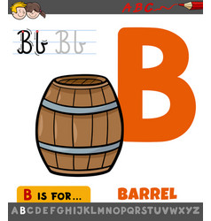 Letter b worksheet with cartoon barrel object vector