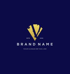 Letter v diamond gold logo design vector