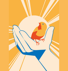 little bird in hand flat illlustration vector image