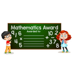 Mathematics award template concept vector