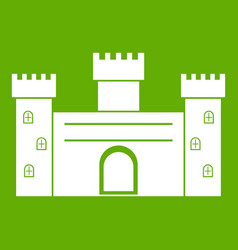 Medieval fortification icon green vector