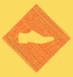 Men shoes sign red scribble icon obtained vector