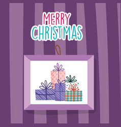 merry christmas celebration hanging frame gift vector image