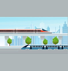 Modern trains go through vector