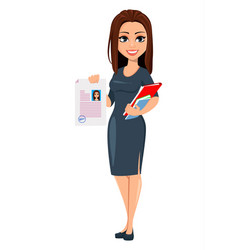 Modern young business woman in gray dress vector