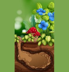 Nature scene with underground hole and flowers vector