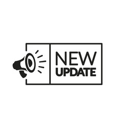 New update label with megaphone vector
