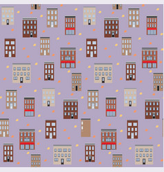 old houses autumn seamless pattern flat vector image
