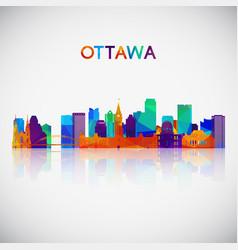 ottawa skyline silhouette in colorful geometric vector image