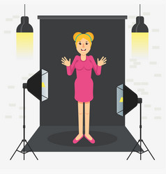 photostudio girl standing vector image