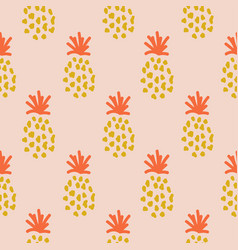 pineapple summer orange tropical textile seamless vector image