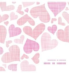 Pink textile hearts horizontal frame corner vector